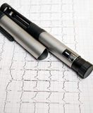 Insulin pen. Pen insulin and ECG backgroung Stock Photo