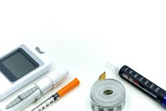Insulin pen ,Diabetes equipment and glucose level blood test,Di. Abetes concept royalty free stock image