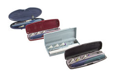 Insulin pens. Four insulin pens with a containers and disposable needles Stock Photo