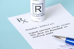Insulin Prescription Royalty Free Stock Images