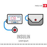 Insulin pump. Equipment for diabetics. Medical flat color icon. Vector Stock Images