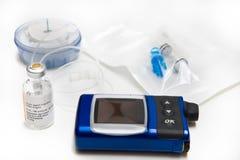 Insulina, bomba, conjunto de la infusión y depósito Fotografía de archivo libre de regalías