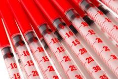Insulina de las inyecciones de las jeringuillas fotos de archivo