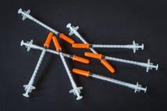 Insulininjektionssprutor för sockersjuka Royaltyfri Bild