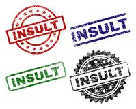 Damaged Textured INSULT Stamp Seals. INSULT seal prints with distress style. Black, green,red,blue vector rubber prints of INSULT caption with retro style vector illustration