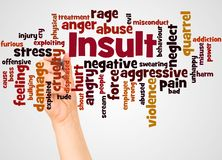 Insult word cloud and hand with marker concept. On white background vector illustration