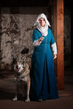 Insulted Nun with Dog Stock Photo