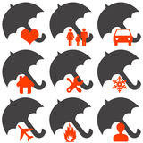 Insurance. Icons for health or car or family or weather or travel or house, etcetera Stock Photography