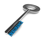 Insurance. Word on key, white background, concept of life, property and risk Royalty Free Stock Image