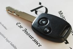 Insurance. Car key on an insurance policy Royalty Free Stock Photo