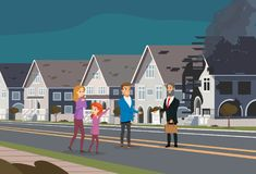 Insurance Accident of Family House Fire Concept. Insurance Accident Concept Cartoon Characters of Family and Insurance Agent Show the Contract for Destroyed Real Royalty Free Stock Photo