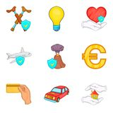 Insurance activity icons set, cartoon style. Insurance activity icons set. Cartoon set of 9 insurance activity vector icons for web isolated on white background Royalty Free Stock Image
