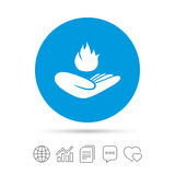 Insurance against fire. Hand holds fire flame. Insurance against fire sign icon. Hand holds fire flame symbol. Copy files, chat speech bubble and chart web Stock Images