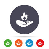 Insurance against fire. Hand holds fire flame. Insurance against fire sign icon. Hand holds fire flame symbol. Round colourful buttons with flat icons. Vector Royalty Free Stock Photography