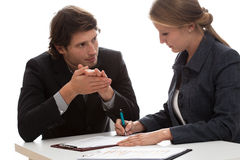 Insurance agent. Talking with a new client Stock Images