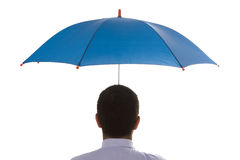 Insurance agent. A insurance agent businessman holding a umbrella for best protection Stock Image