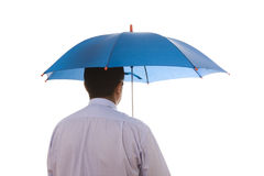Insurance agent businessman. A insurance agent businessman holding a umbrella for best protection Royalty Free Stock Photos