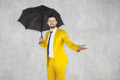 Insurance agent, cheerful man and copy space over hand. Businessman Stock Photos