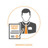 Insurance Agent Flat Icon. Insurance Agent two color Flat Icon for Web Site, Advertising with Policy and pen. isolated vector illustration Royalty Free Stock Photos