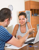 Insurance agent helping client to choose the product Royalty Free Stock Photography