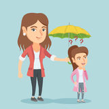 Insurance agent holding umbrella over a woman. Caucasian insurance agent holding umbrella over a young woman. Woman standing under umbrella and question marks royalty free illustration