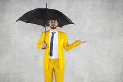 Insurance agent and a lot of copy space above hand. Businessman Stock Images