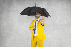 Insurance agent performs gesture stop to the bad insurance. Businessman Stock Photos