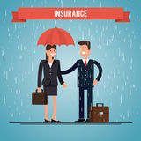 Insurance agent. protects the woman from rain. Stock Photos