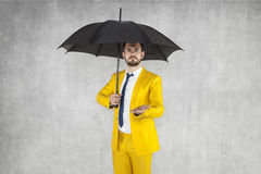 Insurance agent reaches out, copy space. Businessman Royalty Free Stock Image