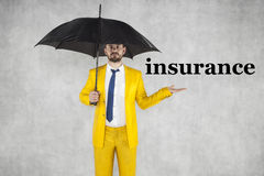 Insurance agent recommends a good insurance. Businessman Stock Images