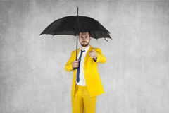 Insurance agent shows on you. Businessman Stock Photography