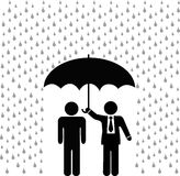 Insurance agent umbrella over insured person stock illustration
