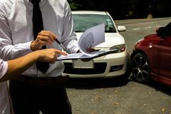 The insurance agent working claim process in payment on from par royalty free stock photos