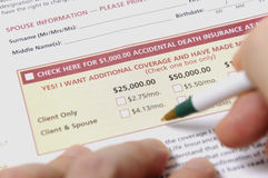 Insurance application form. Sign in your accidental death insurance Royalty Free Stock Photos