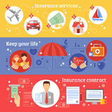 Insurance Banners Set Royalty Free Stock Photography