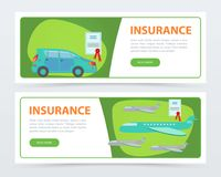 Insurance banners set, insurance policy services concept flat vector element for website or mobile app vector illustration
