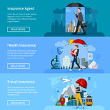Insurance Banners Set Stock Photo