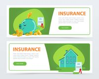 Insurance banners set, protection of property and finance, insurance policy services concept flat vector element for. Website or mobile app with sample text Royalty Free Stock Images