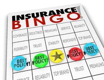 Insurance Bingo Choosing Best Policy Plan Coverage Premium Royalty Free Stock Images