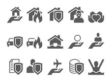 Insurance black and white icons. Stock Photo