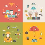 4 insurance business flat vector icons: family, children, travel Stock Photography