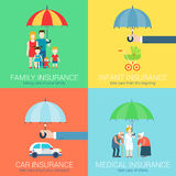 4-in-1 insurance business modern flat set concept icons Royalty Free Stock Photo
