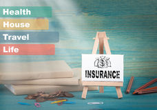 Insurance, business and strategic concept. notice board by the books and money, and notifications.  Stock Photos