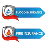 Insurance buttons. Button insurance : flood and fire insurance Royalty Free Stock Image