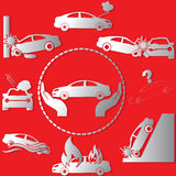 Insurance car silver. The silver color symbol on the car insurance  on a red background. In vector style Stock Images