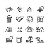 Insurance cases and natural disasters line icons. Property, life and health safety outline symbols. Insurance and protection health and house. Vector Stock Photo