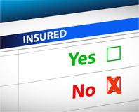 Insurance checklist selection over. A white background Stock Images