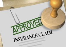 INSURANCE CLAIM APPROVED concept. 3D illustration of APPROVED stamp title on insurance claim document Royalty Free Stock Photos