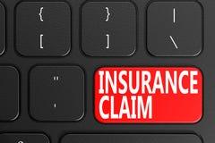 Insurance Claim on black keyboard Royalty Free Stock Photos