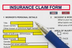 Insurance Claim Form. Insurance Injury Claim Form - many uses in the insurance industry Stock Photo